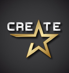 Create golden star inscription icon vector