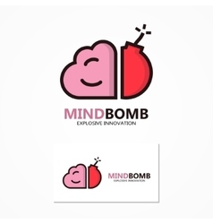 Logo or icon combination of brain and bomb vector