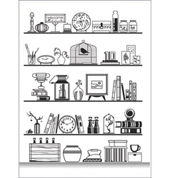 Living room shelves vector