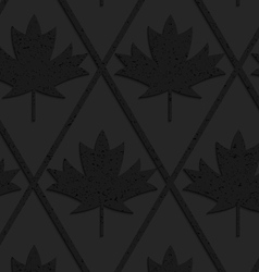 Black textured plastic solid maple leaves vector