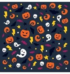 Happy halloween pattern with traditional elements vector