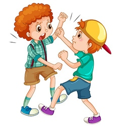 Two boys fighting each other vector image