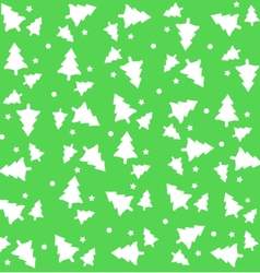 Christmas tree with snow green background pattern vector