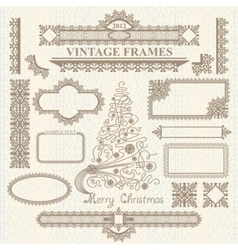 Christmas vintage elements set vector
