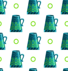 Seamless pattern with cartoon mugs-7 vector
