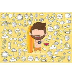 A happy face man with beard summer symbols vector
