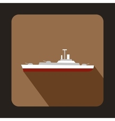 Military ship icon flat style vector