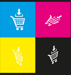 Add to shopping cart sign white icon with vector