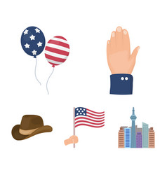 Balloons national flag cowboy hat palm hand vector