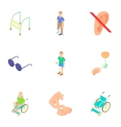 Cripple icons set cartoon style vector image