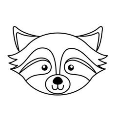 Cute raccoon face cartoon vector
