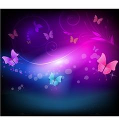Dark background with butterflies vector image