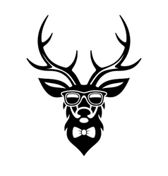 Deer dressed up in hipster style simple logo vector