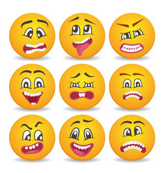 Emoticons or smileys icons set for web vector