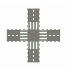 Empty road intersection icon cartoon style vector