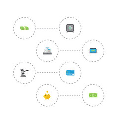Flat icons computer money box verdict and other vector