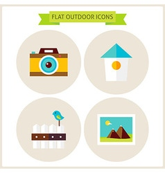 Flat nature outdoor website icons set vector