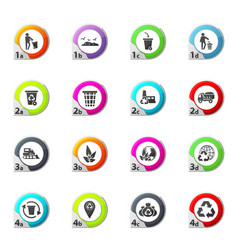 Garbage and recycling industry icons set vector