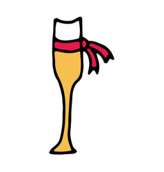glass of champagne hand drawn icon vector image