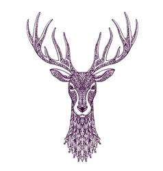 Hand drawn head deer reindeer Christmas xmas vector image vector image
