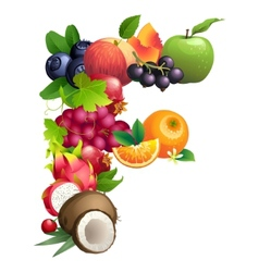 Letter F composed of different fruits with leaves vector image