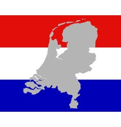 Map and flag of the netherlands vector