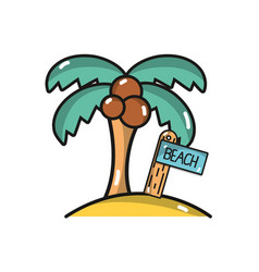Palm with surfboard in the beach on vacation vector