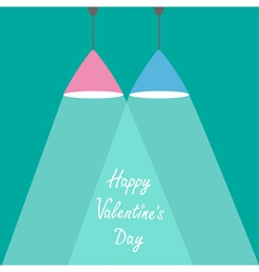 Pink and blue lamps with rays of light valentines vector