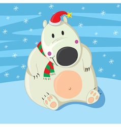 Polar bear christmas vector