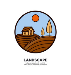 Rural nature landscape on round logotype isolated vector