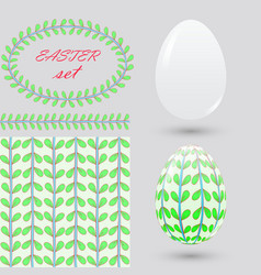 set of easter pure and painted eggs seamless vector image