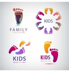 Set of feet steps footprints logos vector