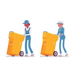 Set of male and female janitor pushing trash can vector