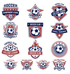set of soccer football emblems design element for vector image