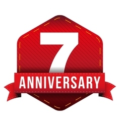 Seven year anniversary badge with red ribbon vector