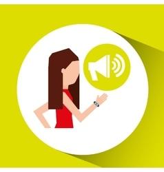 Sport girl with smart watch megaphone vector