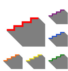 Stair up sign set of red orange yellow green vector
