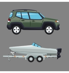 Suv vehicle and boat design vector