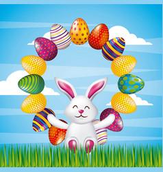 white cute bunny sitting decorative eggs round vector image