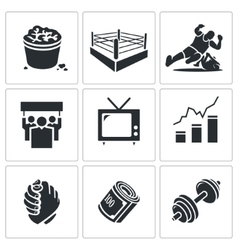 Wrestling icons set vector