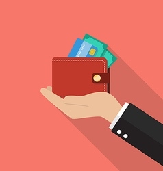 Hand with wallet vector