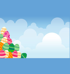 Collection of easter theme landscape vector