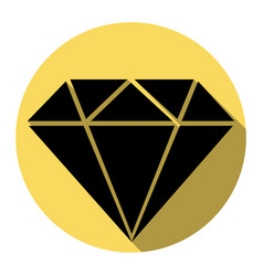 diamond sign   flat black icon vector image