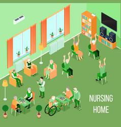 Nursing home care interior isometric vector