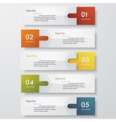 5 steps design clean number banners template vector image
