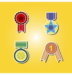 Color icons with awards symbols vector