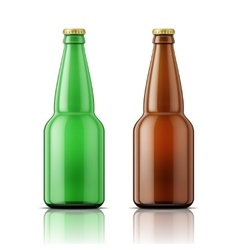 Green and brown beer bottles with cap vector