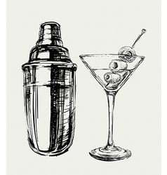 Sketch martini cocktails with olives and shaker vector