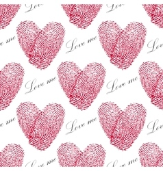 Pink fingerprint seamless pattern with heart on a vector