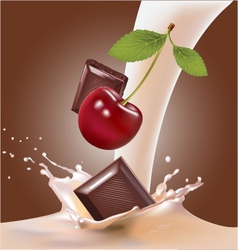 milk and cherries chocolate vector image